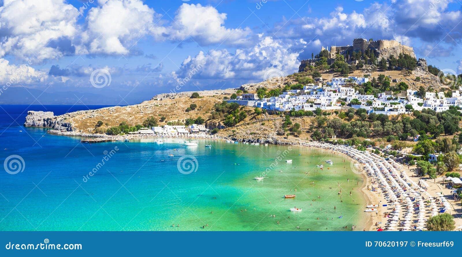 Vue panoramique de baie de Lindos, Rhodes, Grèce