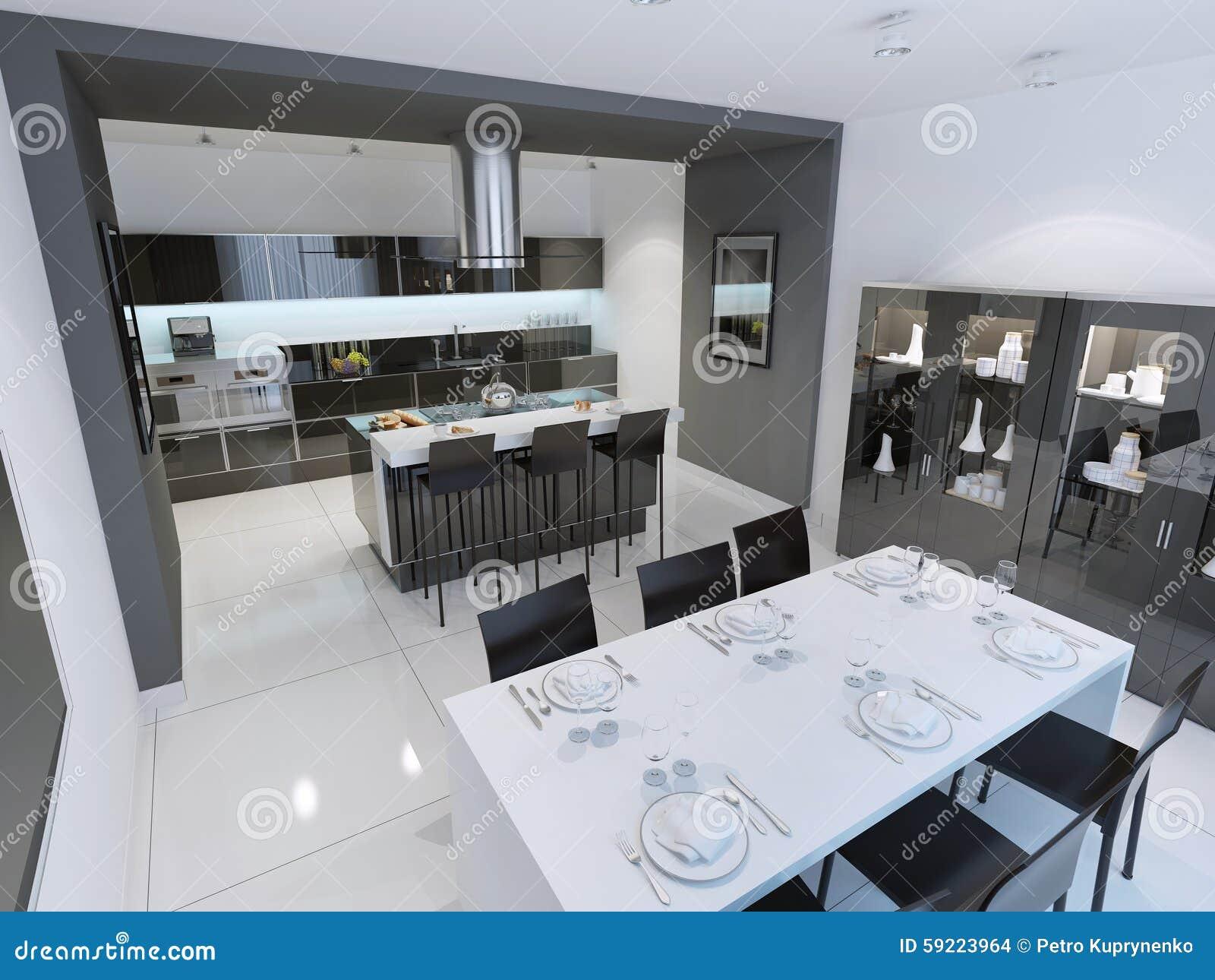Vue panoramique de cuisine moderne et minimaliste photo stock ...