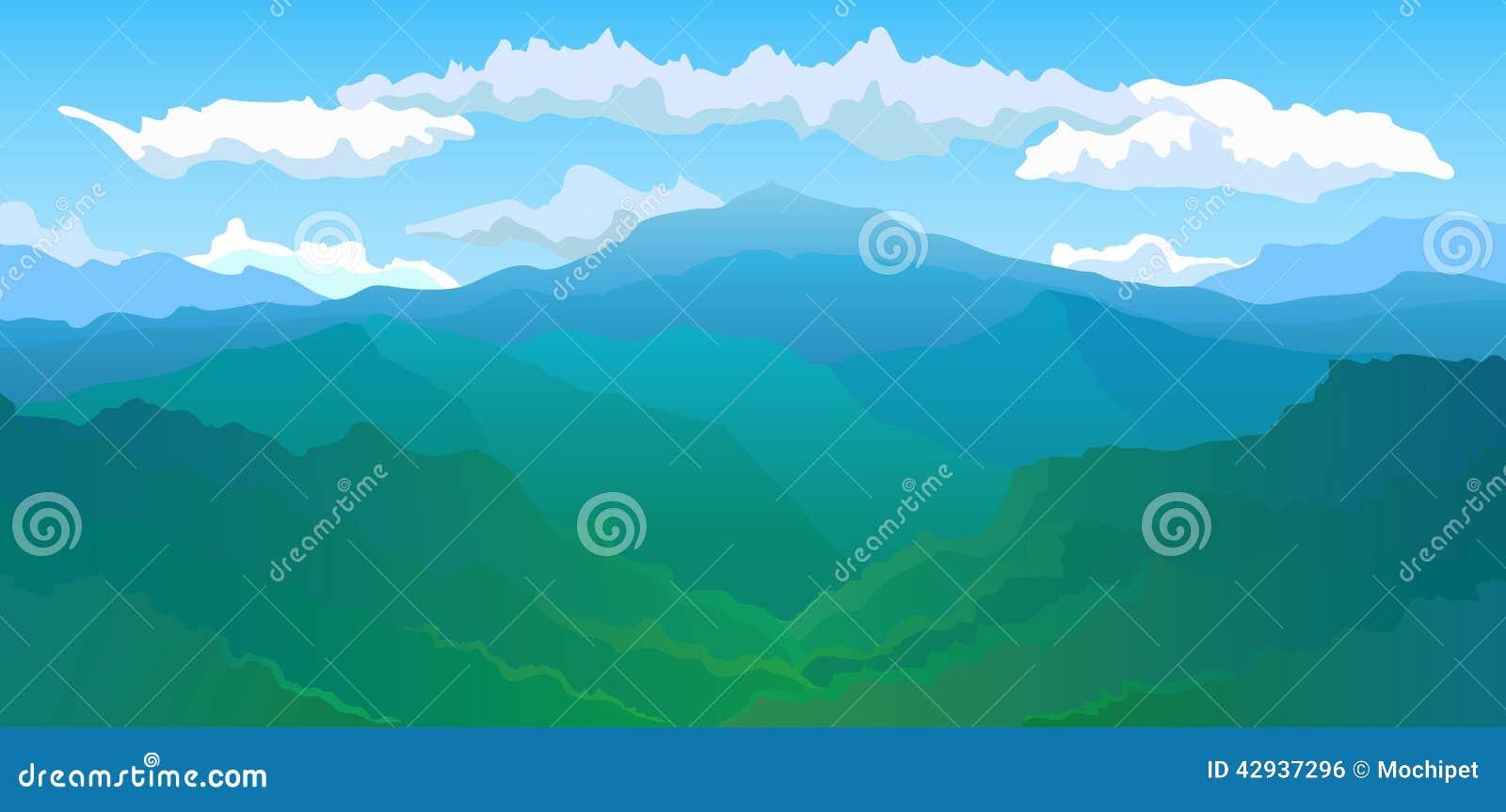 Vue panoramique de la gamme de montagne
