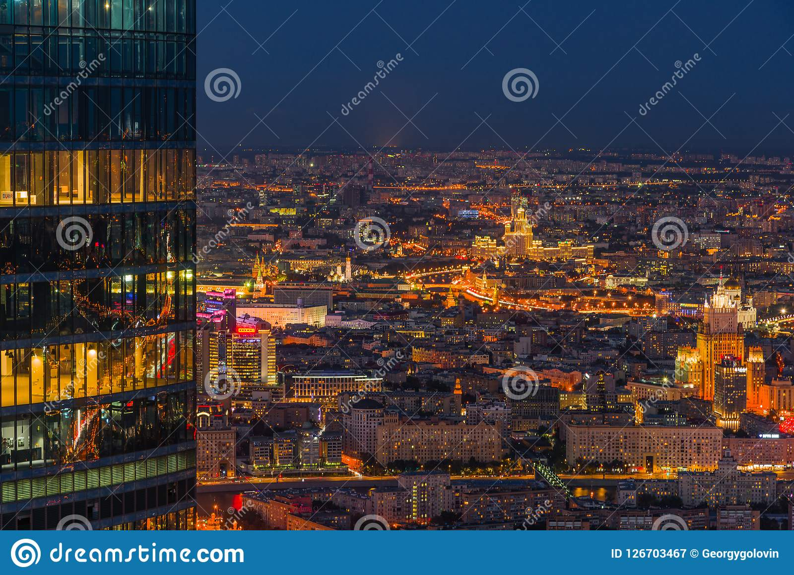 Vue panoramique de Moscou Soirée, coucher du soleil