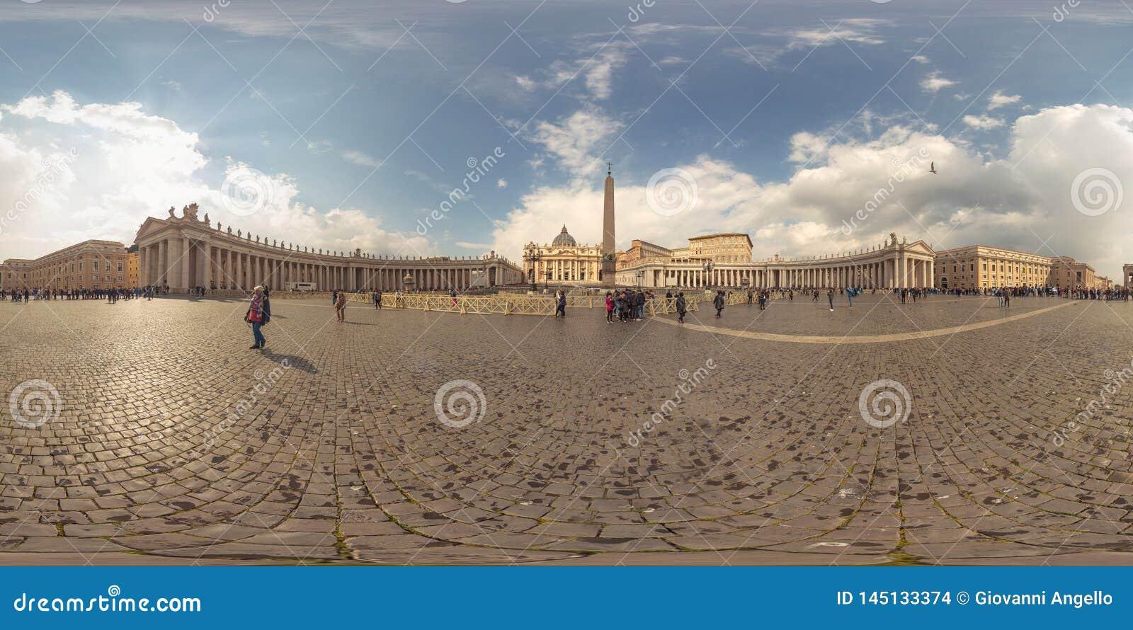 Vue panoramique de réalité virtuelle de 360 degrés de Ville du Vatican, Rome
