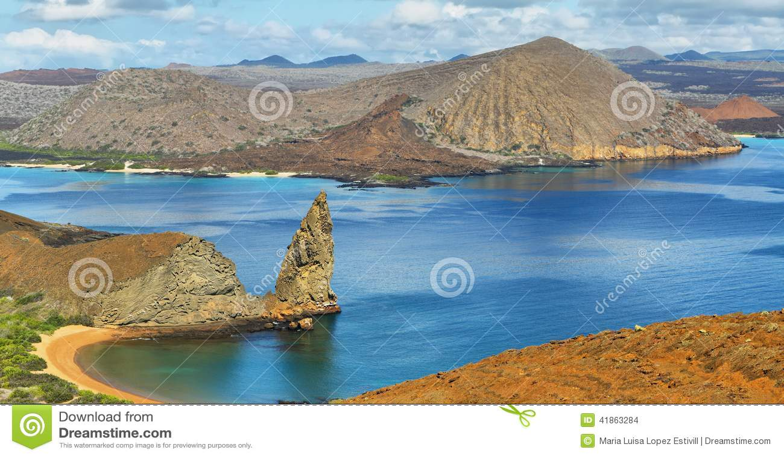 Vue panoramique de roche et d environs de sommet dans Bartolome