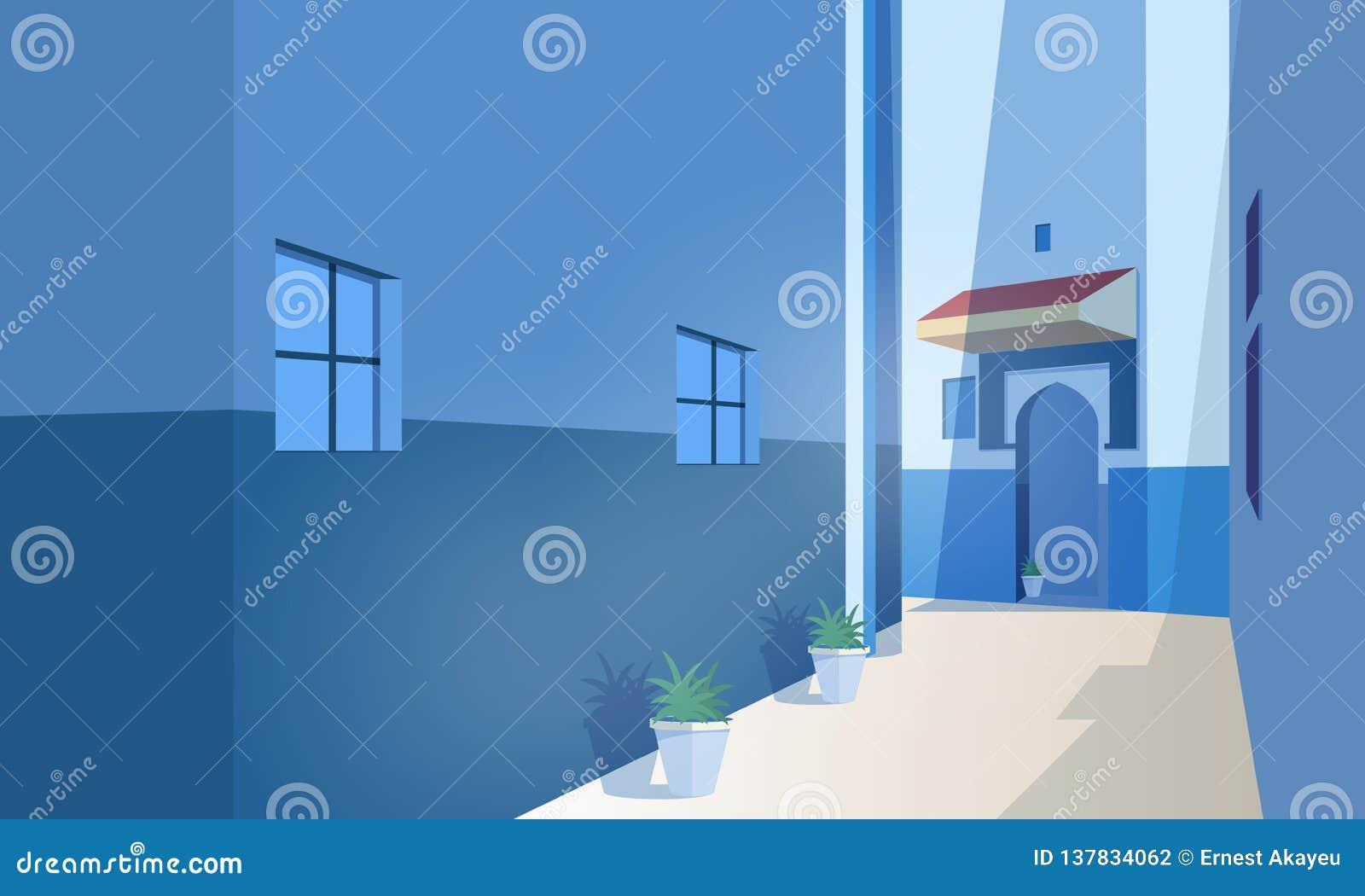 Vue panoramique de ville marocaine avec les bâtiments antiques, de porte de forme traditionnelle et d usines s élevant dans des p