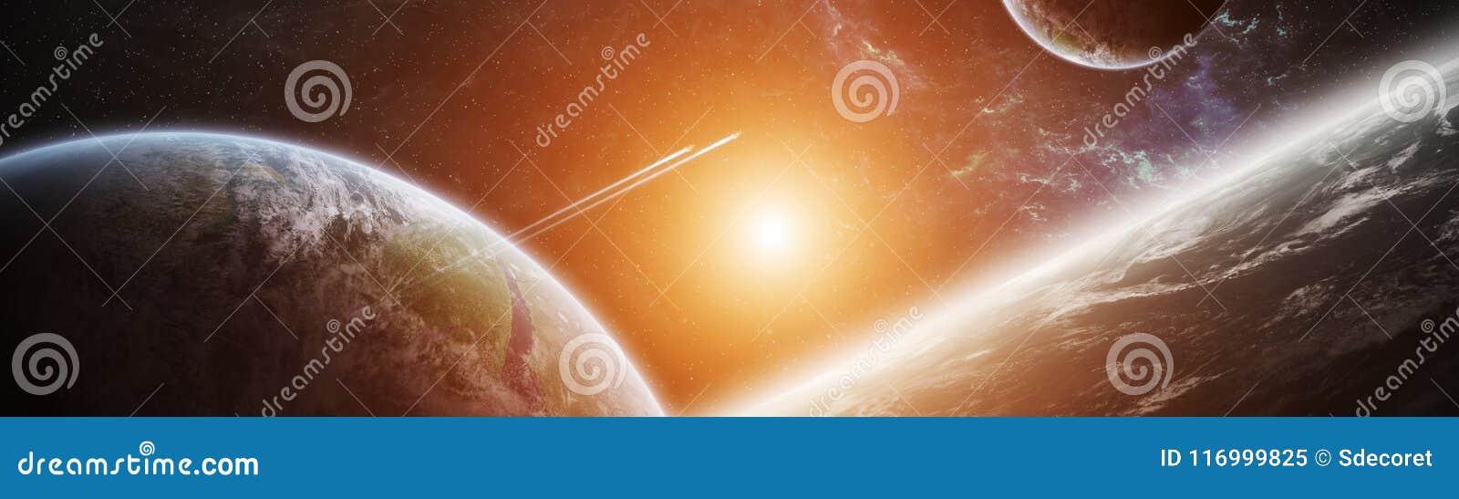 Vue panoramique des planètes dans le système solaire éloigné 3D rendant e