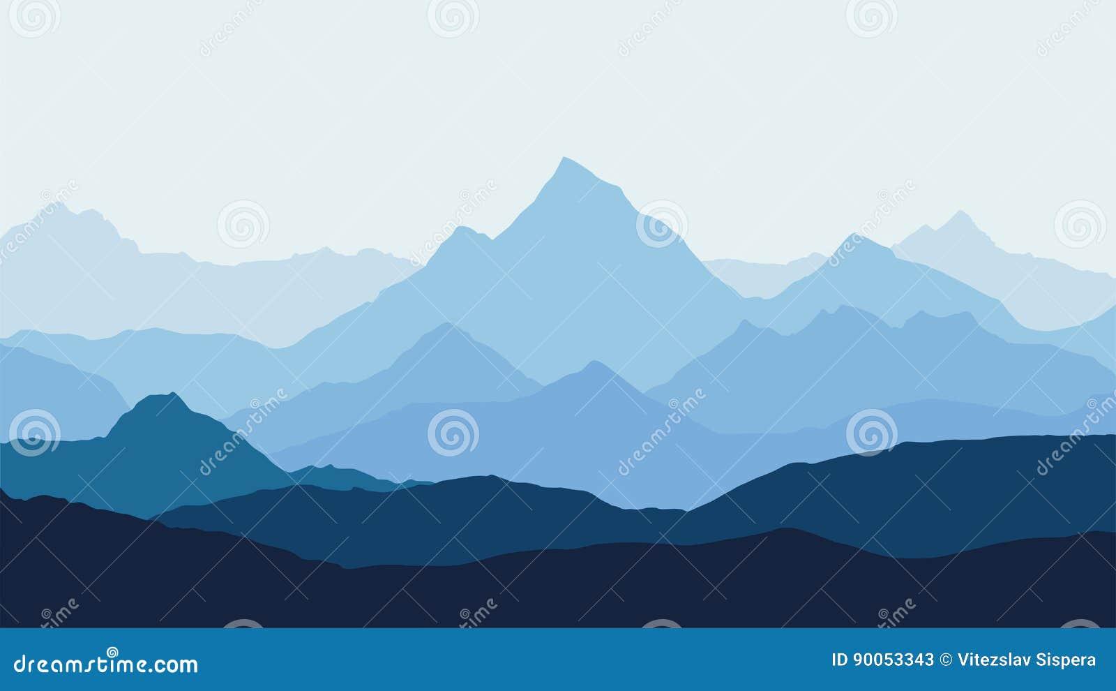 Vue panoramique du paysage de montagne avec le brouillard dans la vallée ci-dessous avec le ciel bleu d alpenglow et le Soleil Le