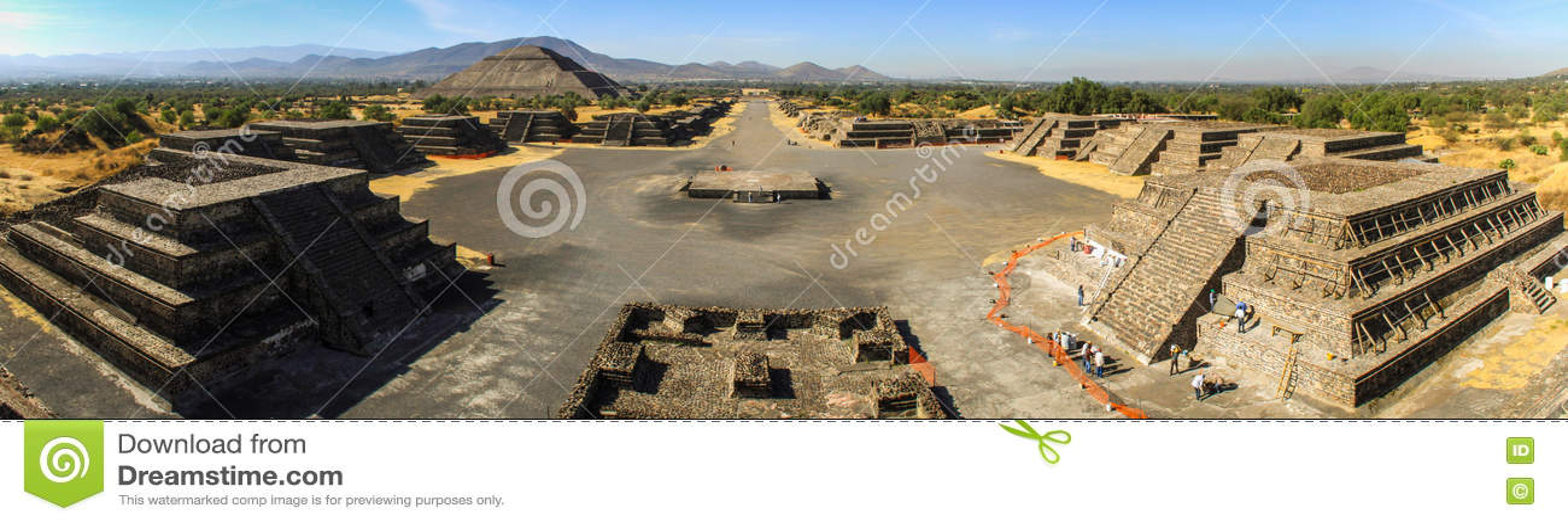 Vue panoramique du site de Teotihuacan de la pyramide de lune, Teotihuacan, Mexique