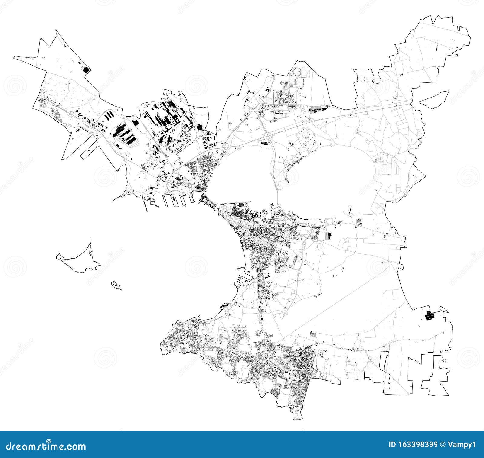 Vue Satellite De La Ville De Tarente Carte Et Rues Pouilles Italie Illustration De Vecteur Illustration Du Tarente Carte 163398399