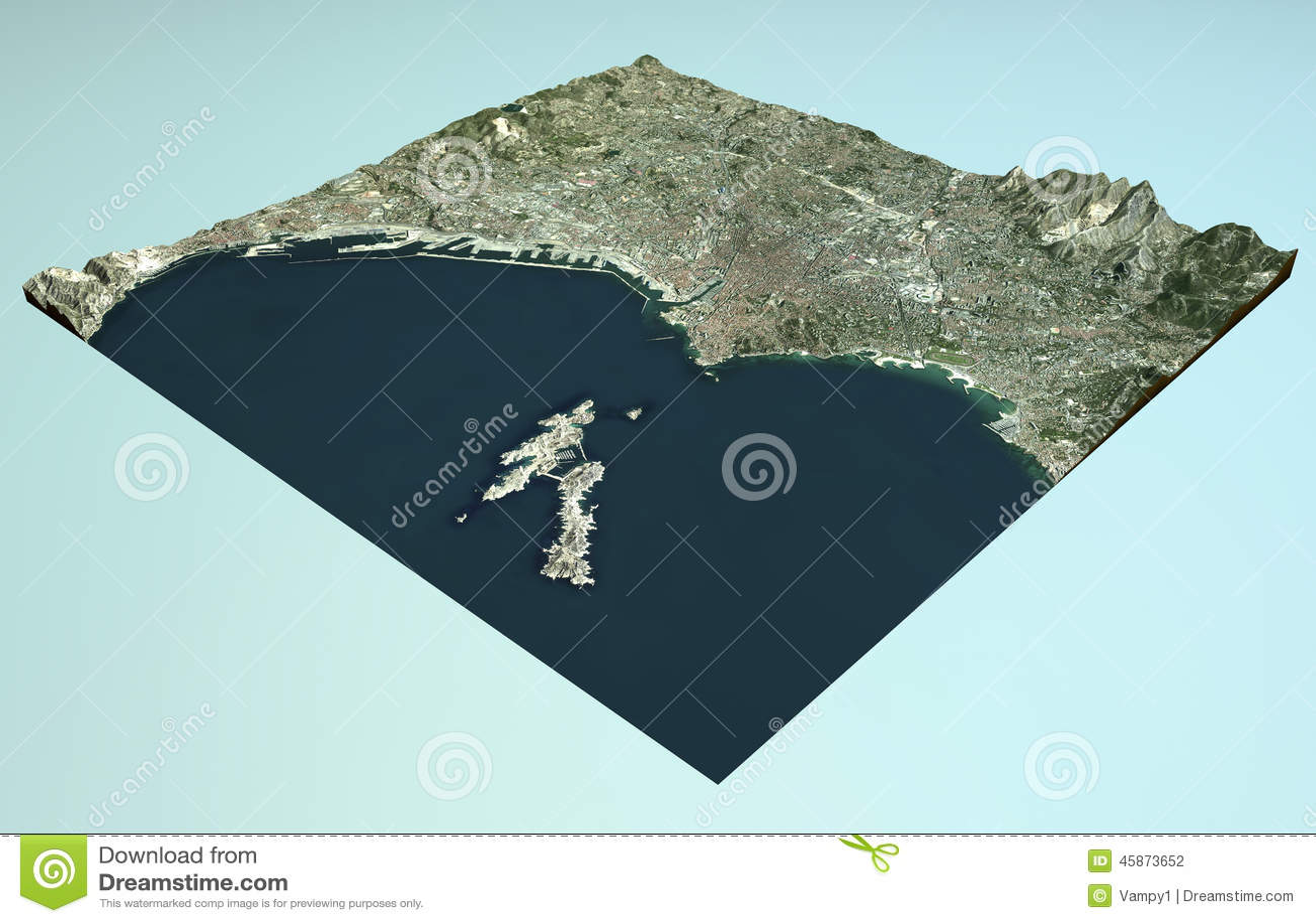 Vue Satellite De Marseille, France, Carte, Section 3d Illustration Stock - Illustration du ville ...