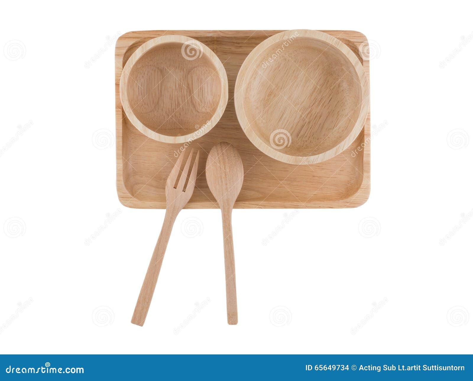 Vue supérieure, cuillère en bois et tasse en bois placées sur le plateau en bois