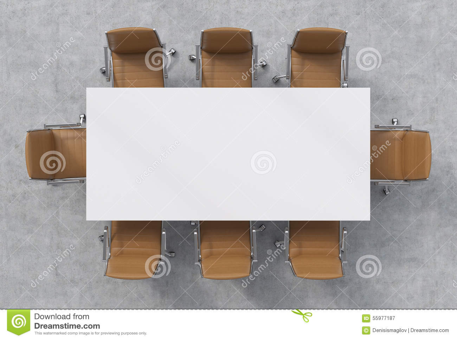 Vue supérieure d une salle de conférence Une table rectangulaire blanche et huit chaises en cuir brunes autour intérieur 3D