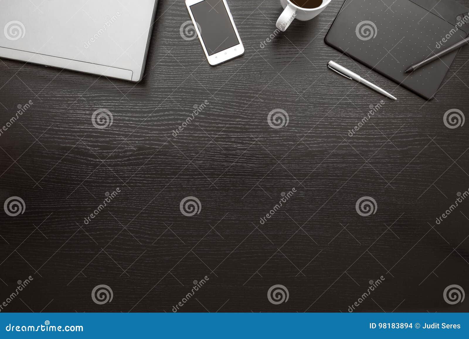 Vue supérieure de bureau noir et blanc fond d affaires photo