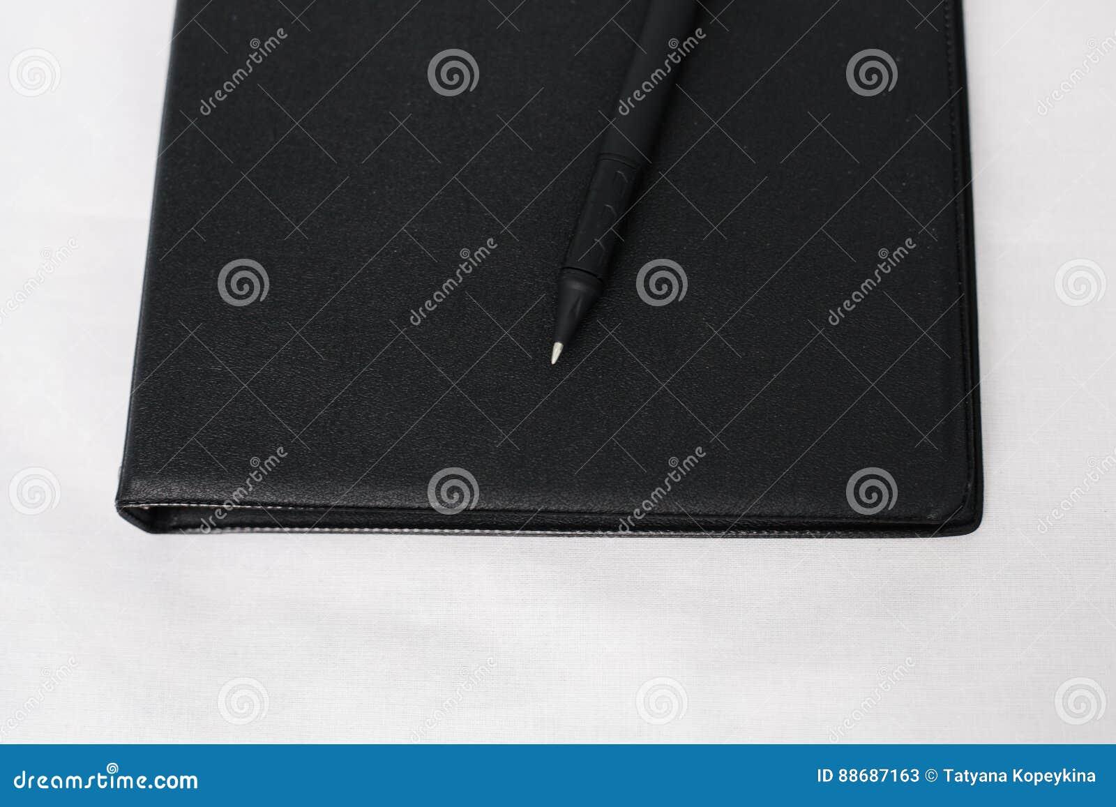 Vue supérieure de fin vers le haut de noir de carnet image stock