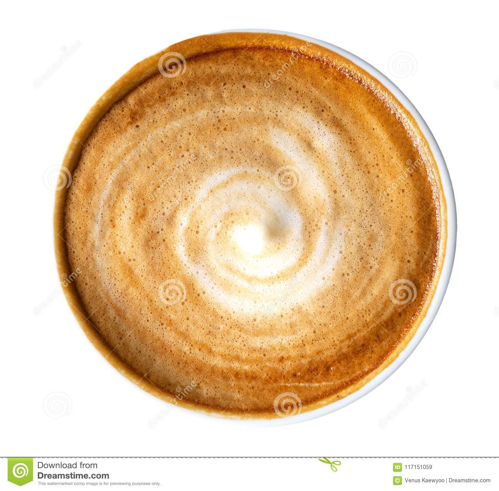 Vue supérieure de la mousse chaude de spirale de cappuccino de latte de café d isolement sur le fond blanc, chemin