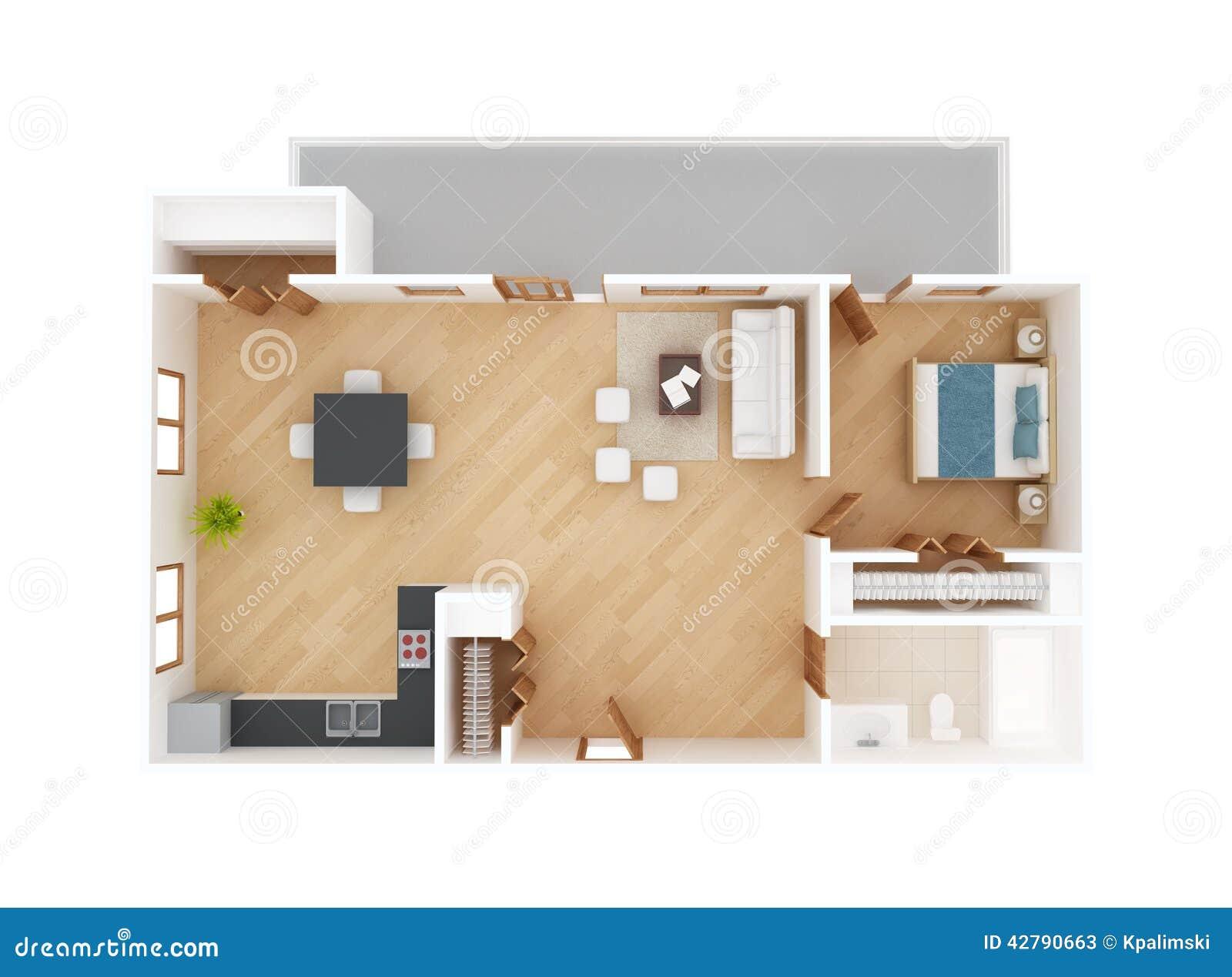 Vue sup rieure de plan d 39 tage d 39 appartement illustration for Planner arredamento