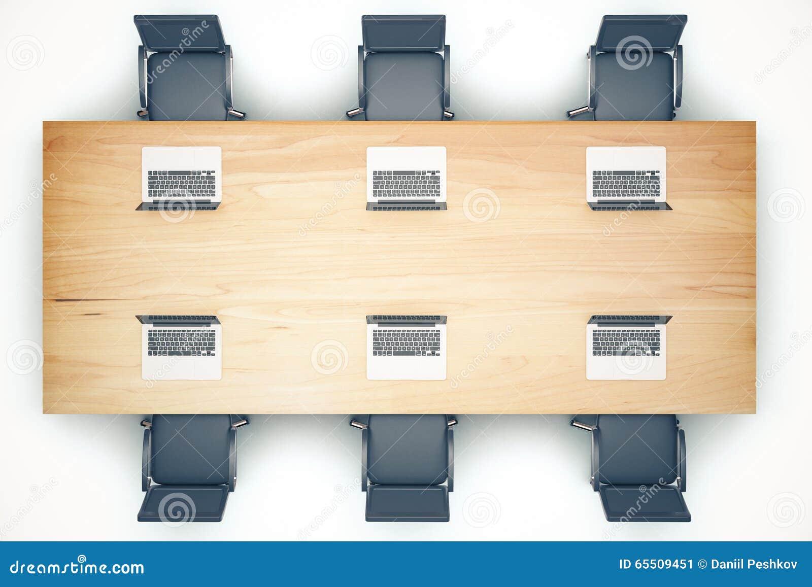 Vue Sup Rieure De Table De R Union En Bois Avec Les Chaises Et L  # Table Ordi En Bois