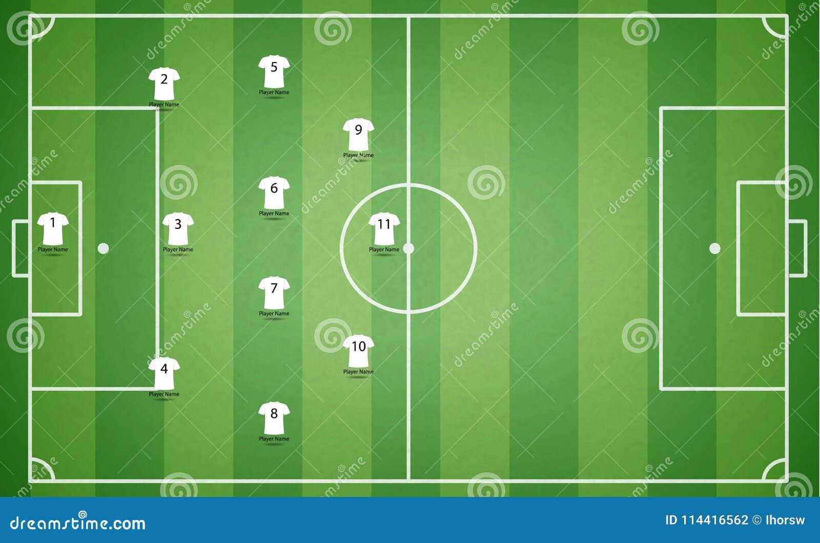 Vue supérieure de terrain de football avec le T-shirt de joueurs d équipe S texturisé