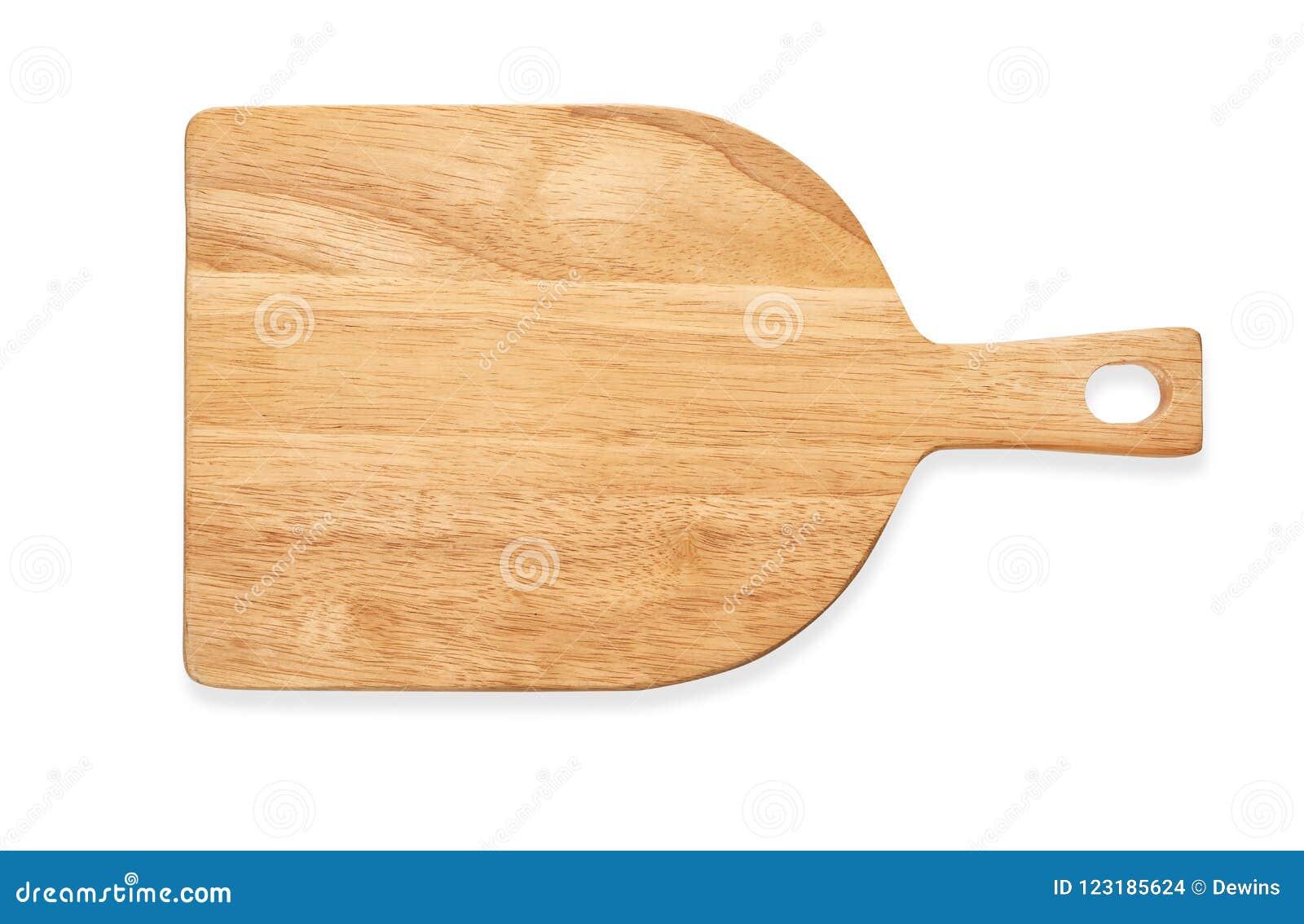Vue supérieure du hachoir en bois vide, plateau en bois de portion avec la poignée, d isolement sur le fond blanc avec le chemin