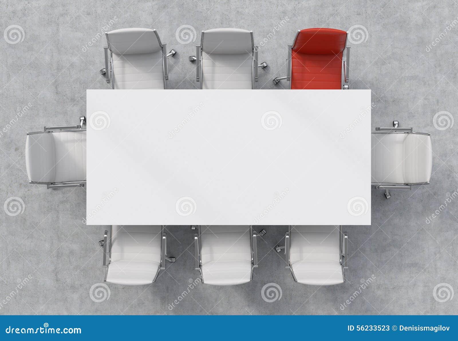 vue sup rieure d 39 une salle de conf rence une table rectangulaire blanche et huit chaises autour. Black Bedroom Furniture Sets. Home Design Ideas