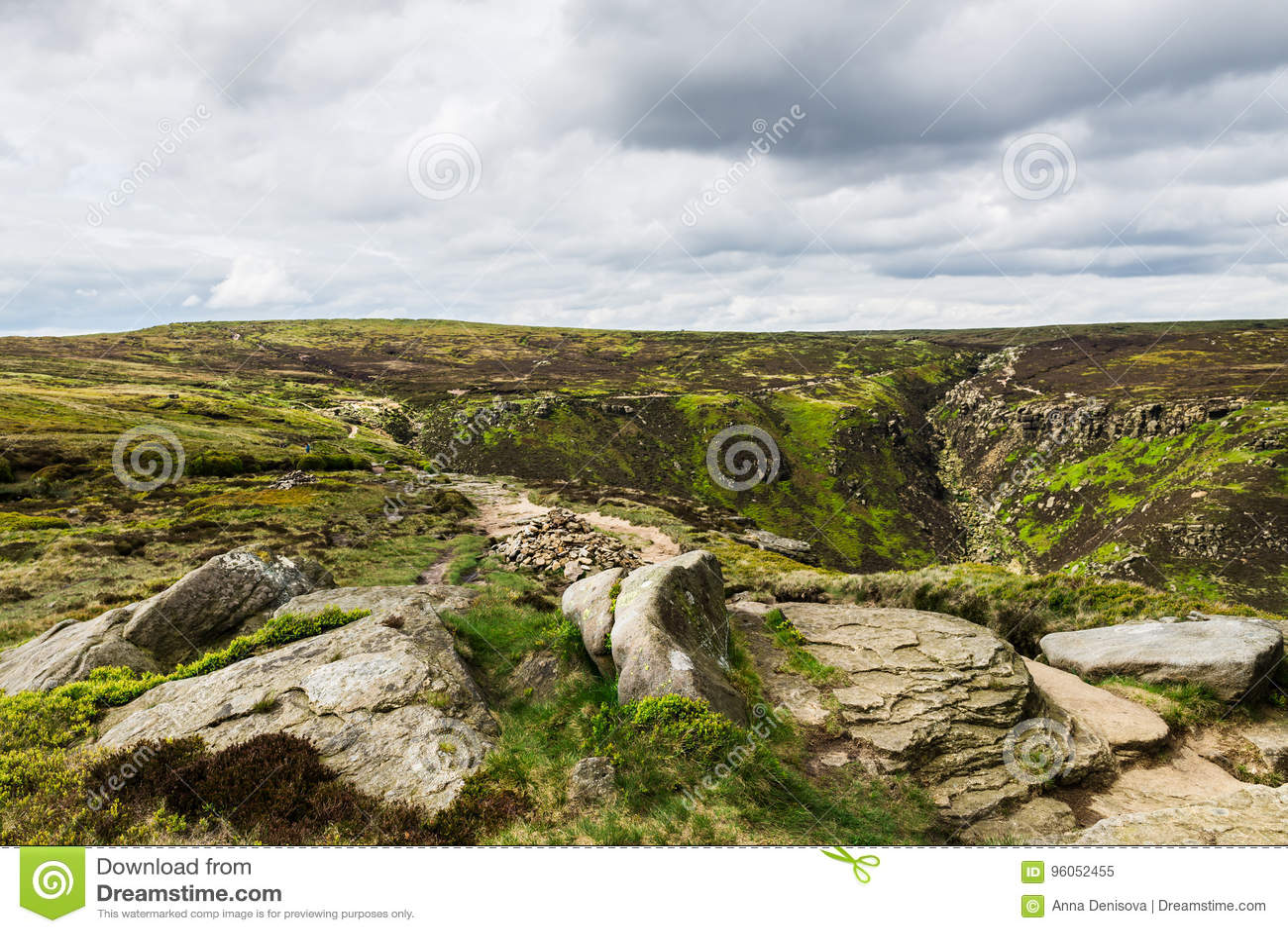 Vue sur les collines près d Edale, parc national de secteur maximal, R-U