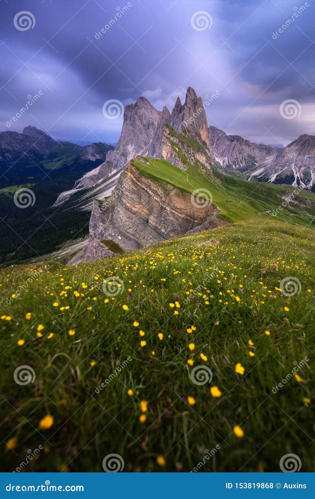 Vue ?tonnante de paysages de montagne verte avec le ciel bleu l ?t? des dolomites, Italie