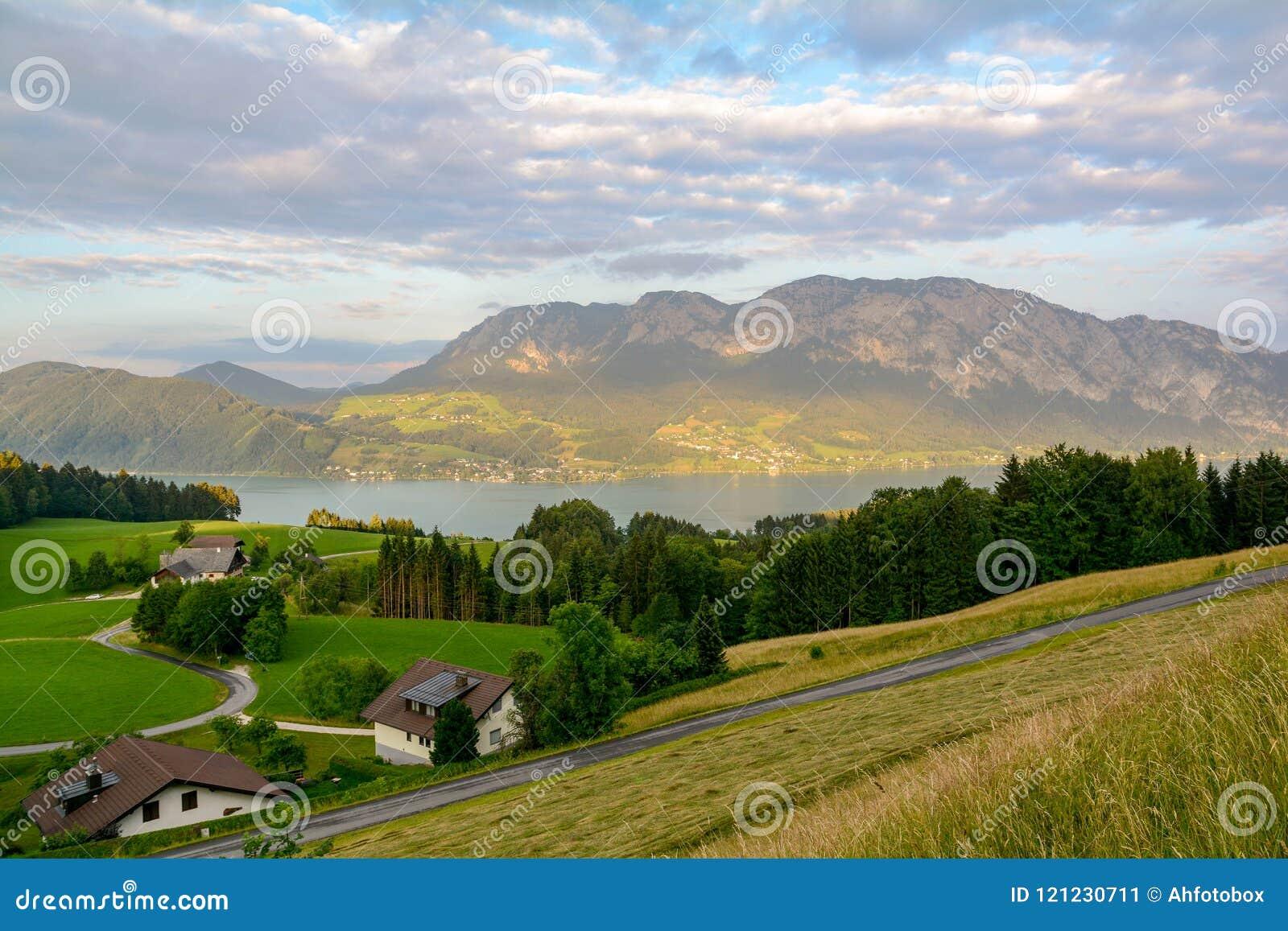 Vue vers le lac Attersee avec la gamme verte de prés de pâturage et de montagne d Alpes près de Nussdorf Salzbourg, Autriche