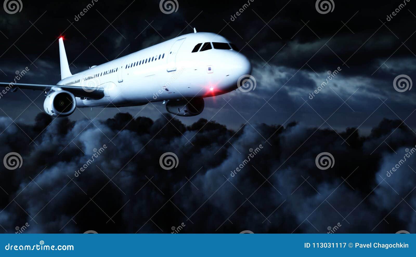 Vuelo de Airbus del pasajero en las nubes concepto del recorrido representación 3d