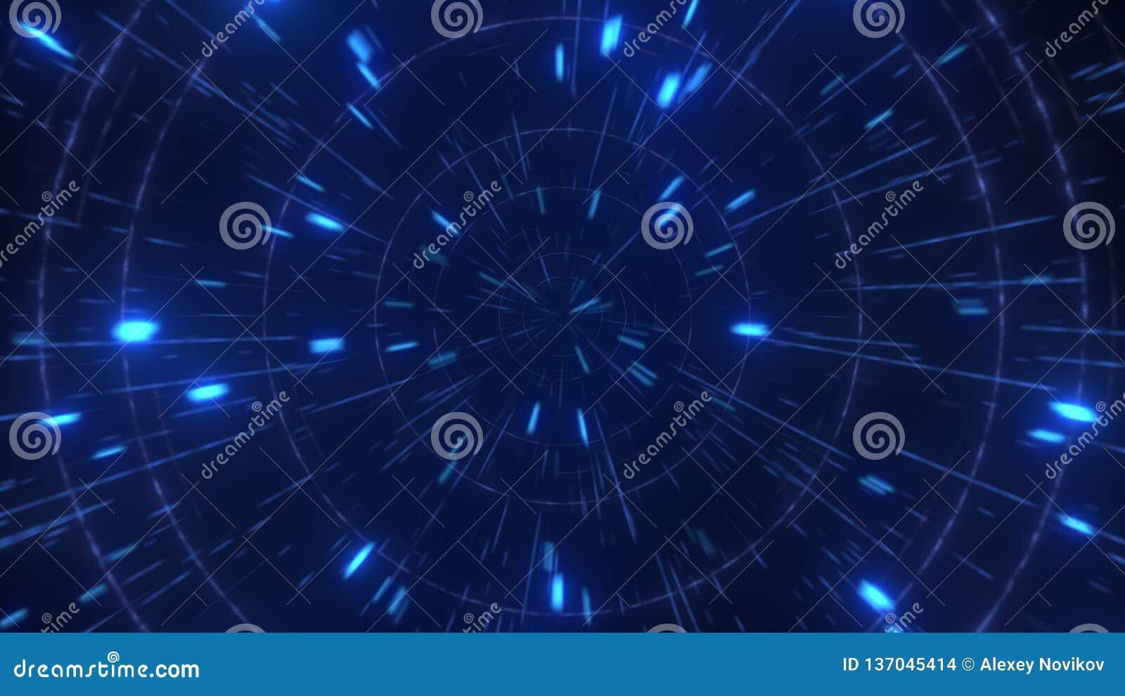 Vuelo de alta velocidad hyperspace del extracto, representación 3D