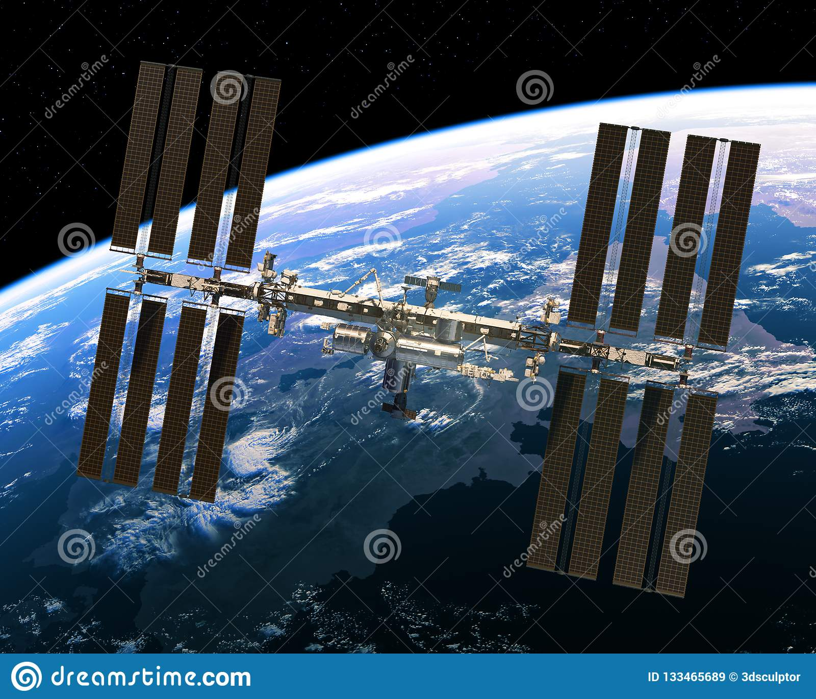 Vuelo de la estación espacial internacional en el fondo de la tierra