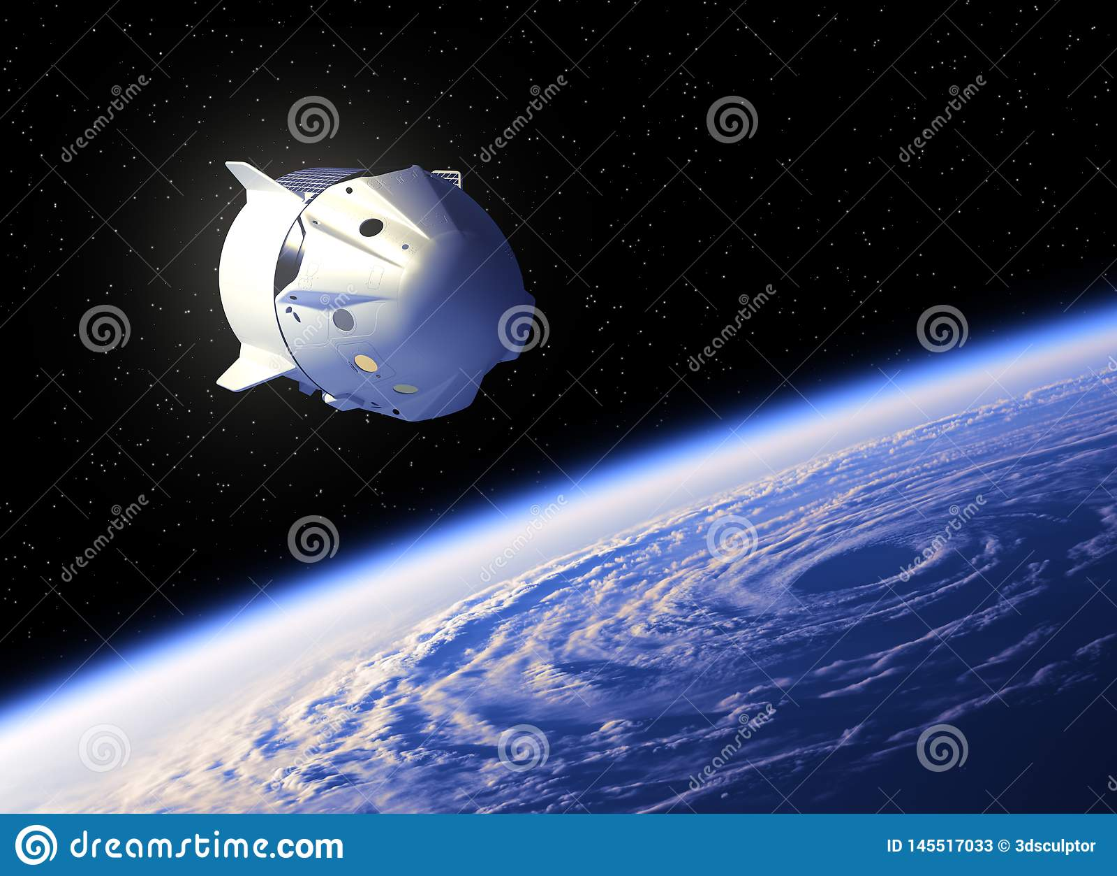 Vuelo de la nave espacial comercial sobre el hurac?n grande