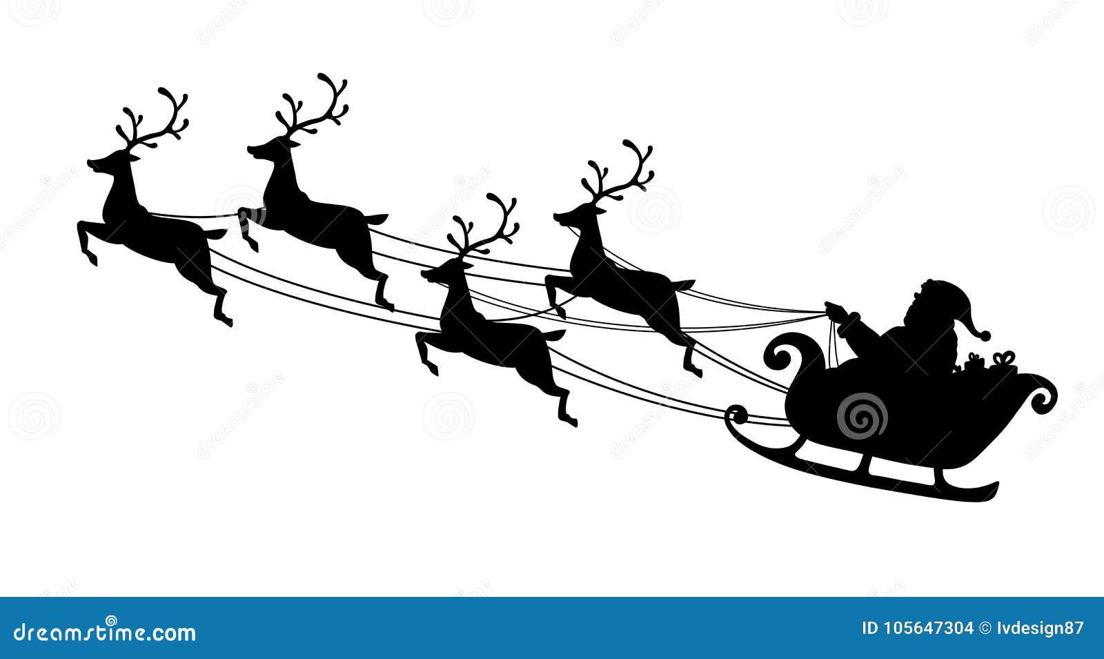 Vuelo de Papá Noel con el trineo del reno Silueta negra Símbolo de la Navidad y del Año Nuevo aislados en el fondo blanco Vector