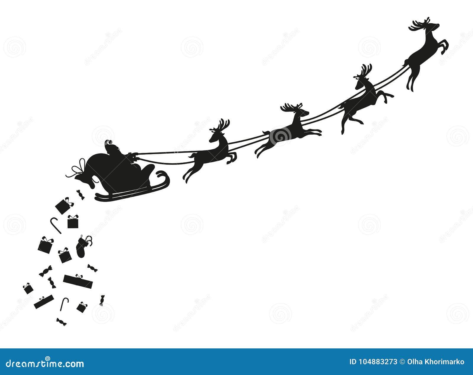 Vuelo de Santa Claus con los ciervos Silueta