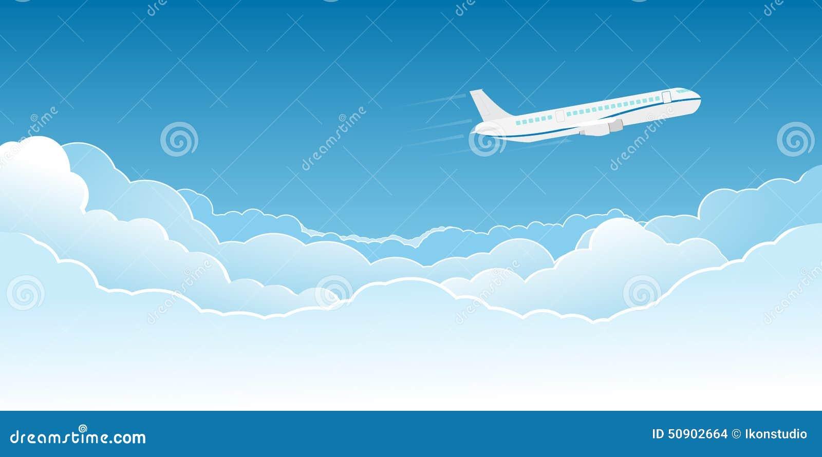 Vuelo del aeroplano sobre las nubes