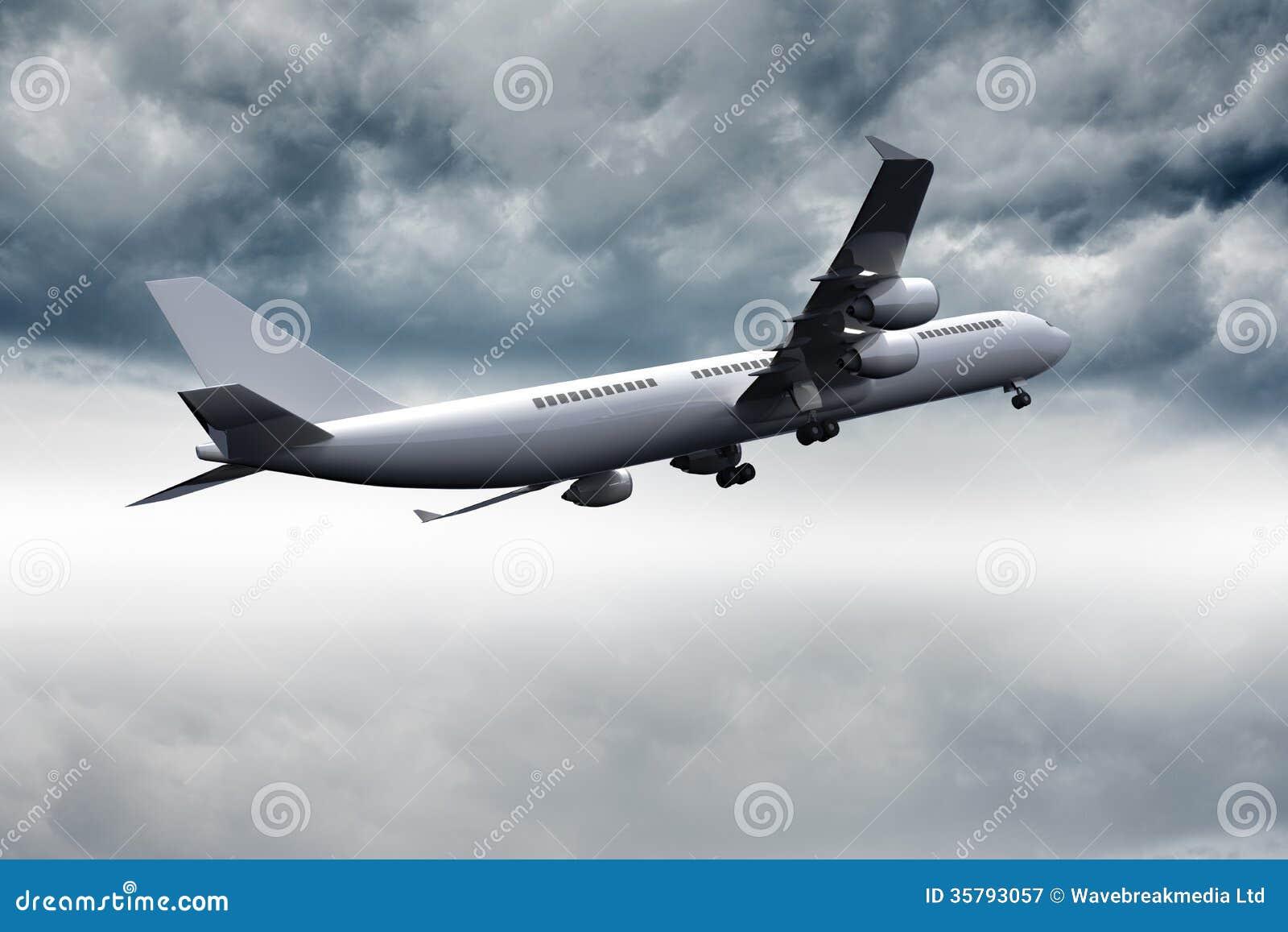 Vuelo del avión 3D en el cielo