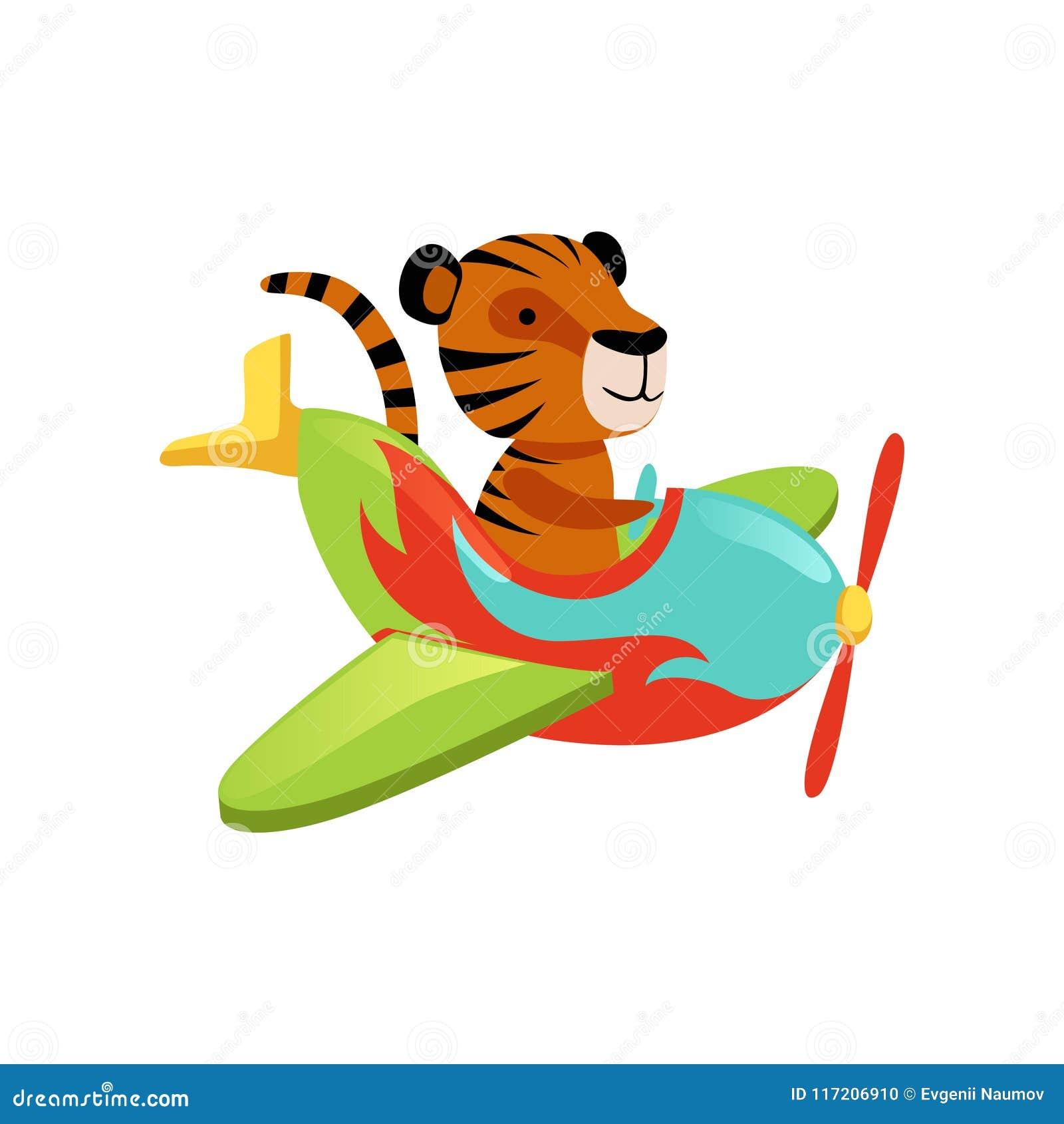 Vuelo divertido del tigre en el aeroplano multicolor Personaje de dibujos  animados del animal salvaje anaranjado con las rayas negras Diseño gráfico  para la ... 4ffa137dea4