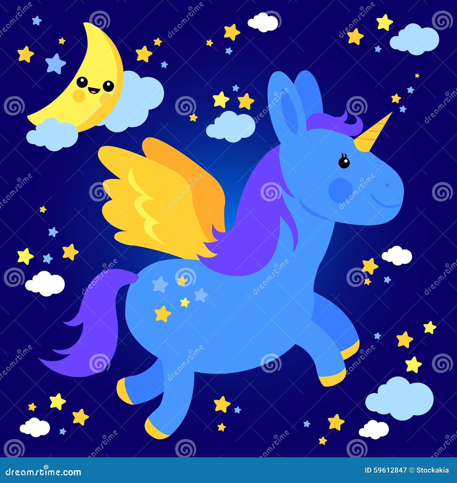 Vuelo lindo del unicornio en el cielo nocturno