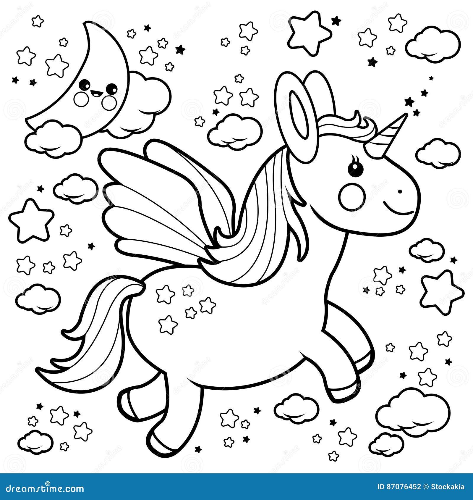 Vuelo Lindo Del Unicornio En El Cielo Nocturno Página Blanco Y
