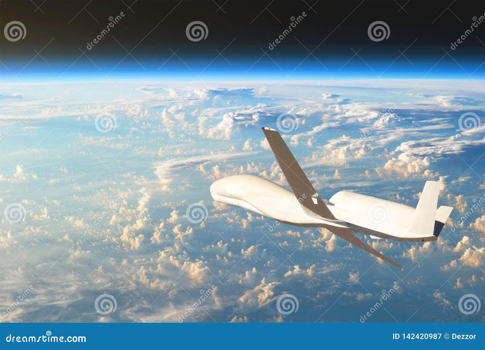 Vuelo sin tripulación de los aviones en la atmósfera superior, el estudio de las cáscaras de gas de la tierra del planeta Element