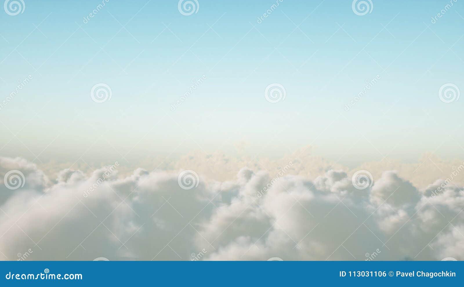 Vuelo sobre las nubes representación 3d