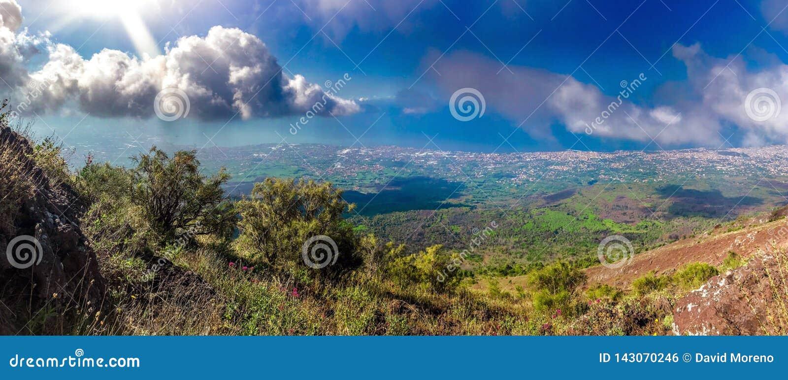 Vues de paysage de l itinéraire au mont Vésuve à Naples, Italie