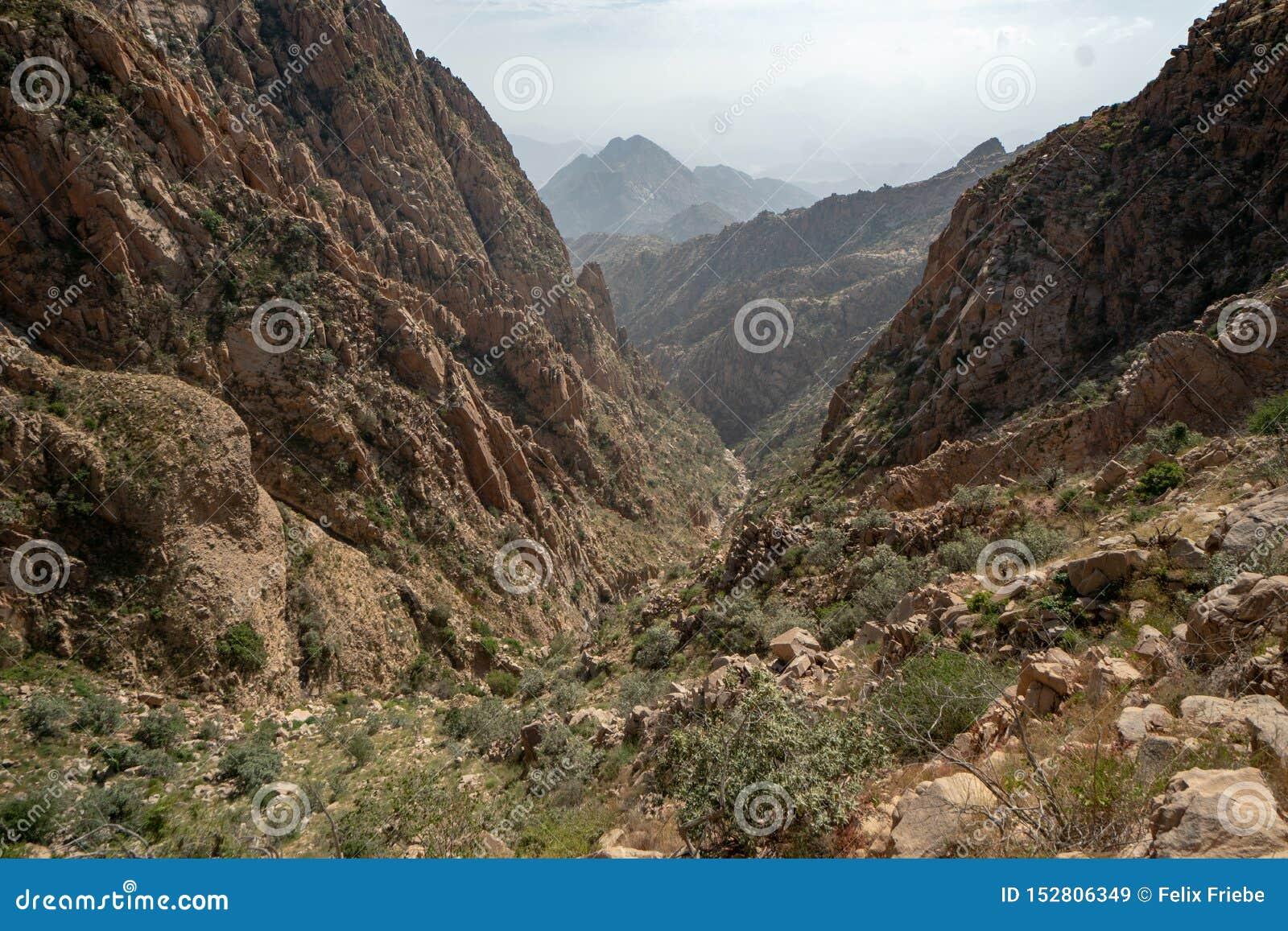 Vues scéniques au-dessus des montagnes et des vallées dans la région de Taif de l Arabie Saoudite