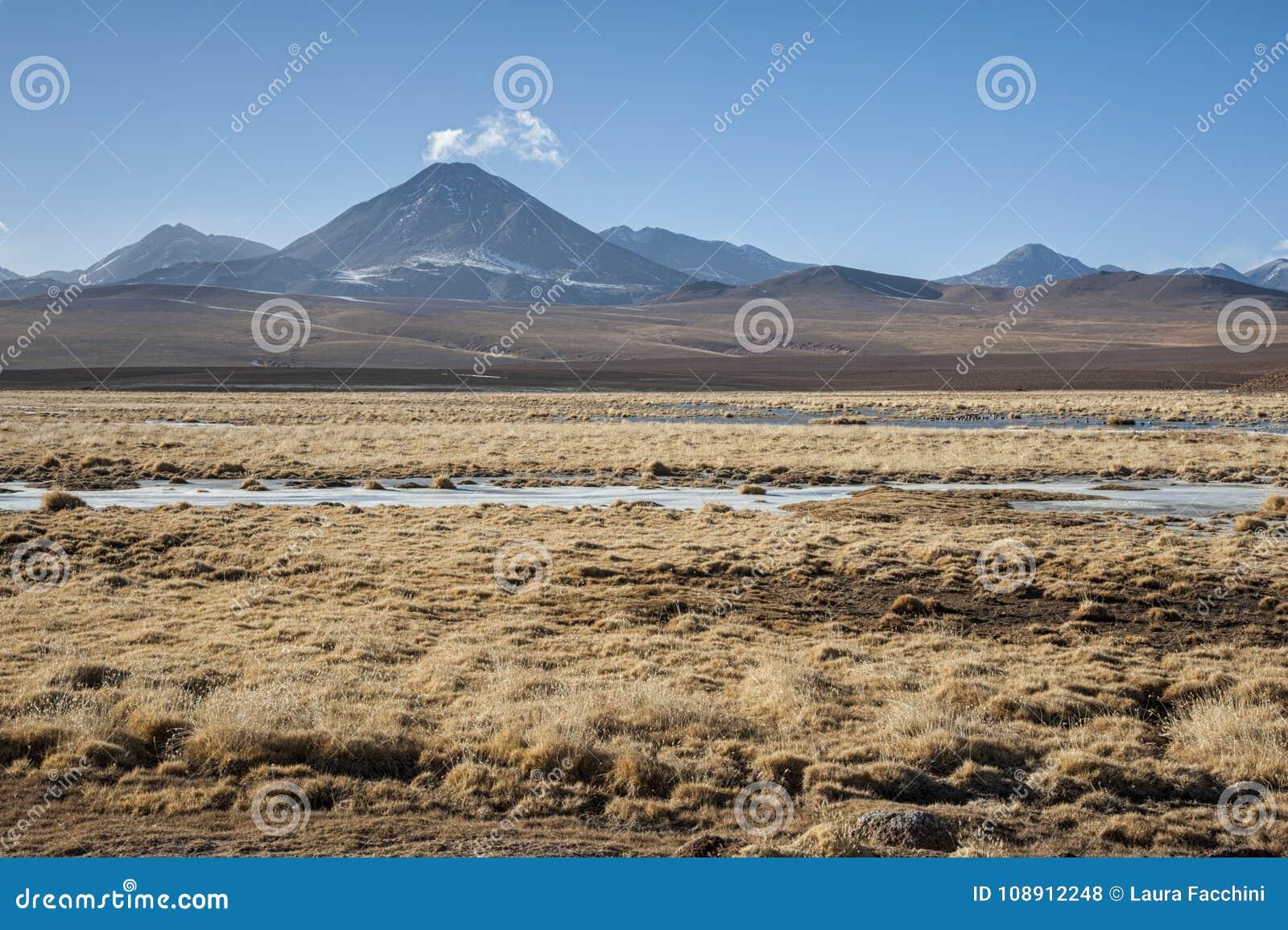 Vulcão ativo Putana igualmente conhecido como Jorqencal ou Machuca perto de Vado Rio Putana no deserto de Atacama, o Chile