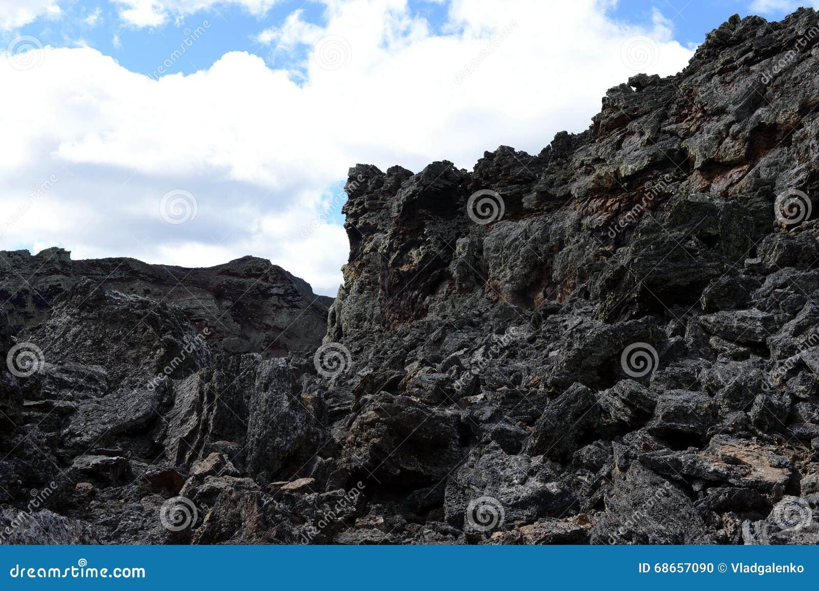 Vulcão extinto o domicílio do diabo no parque nacional Pali Aike no sul do Chile