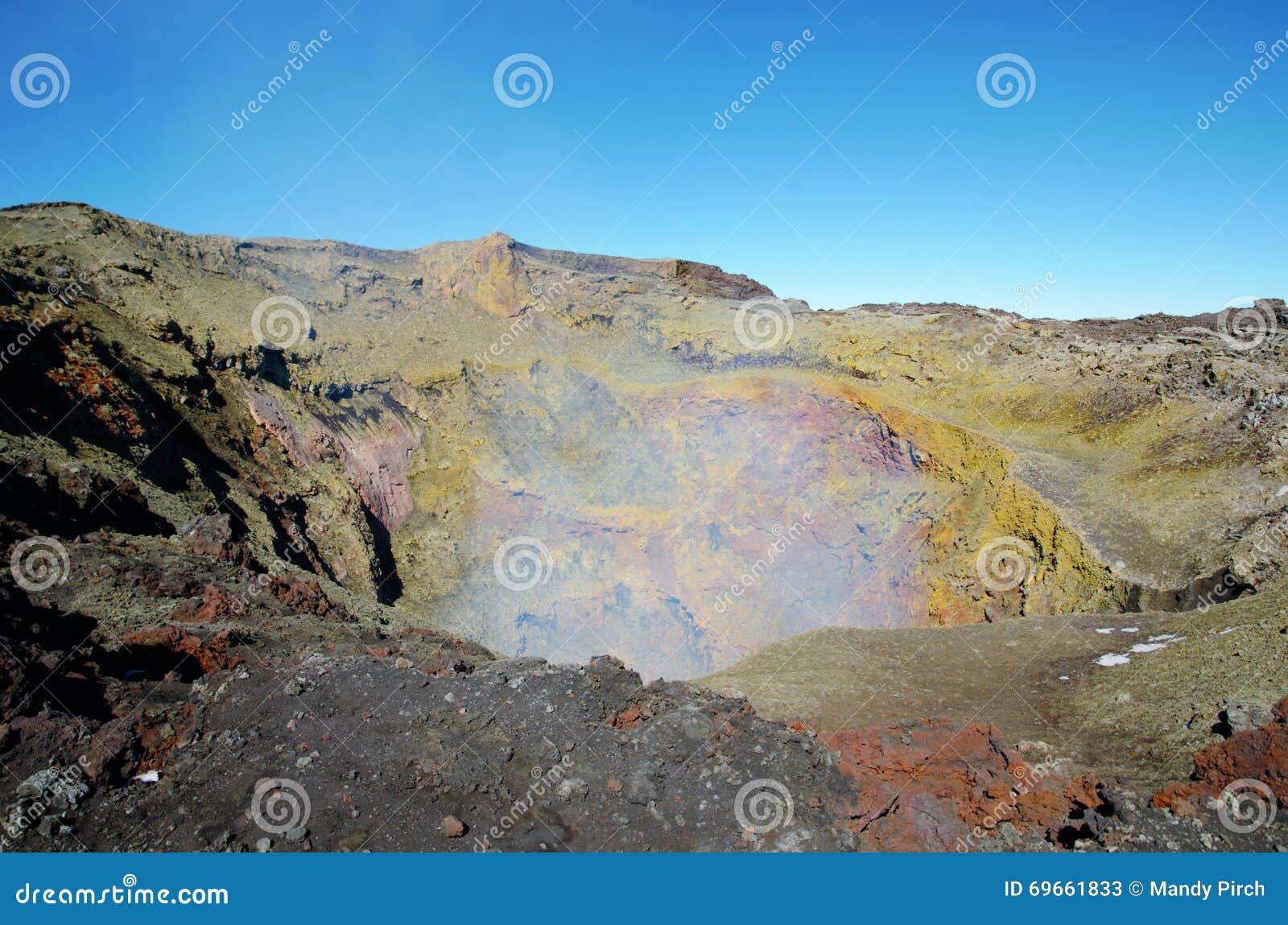 Vulcão Villarrica do passeio na montanha, Pucon o Chile