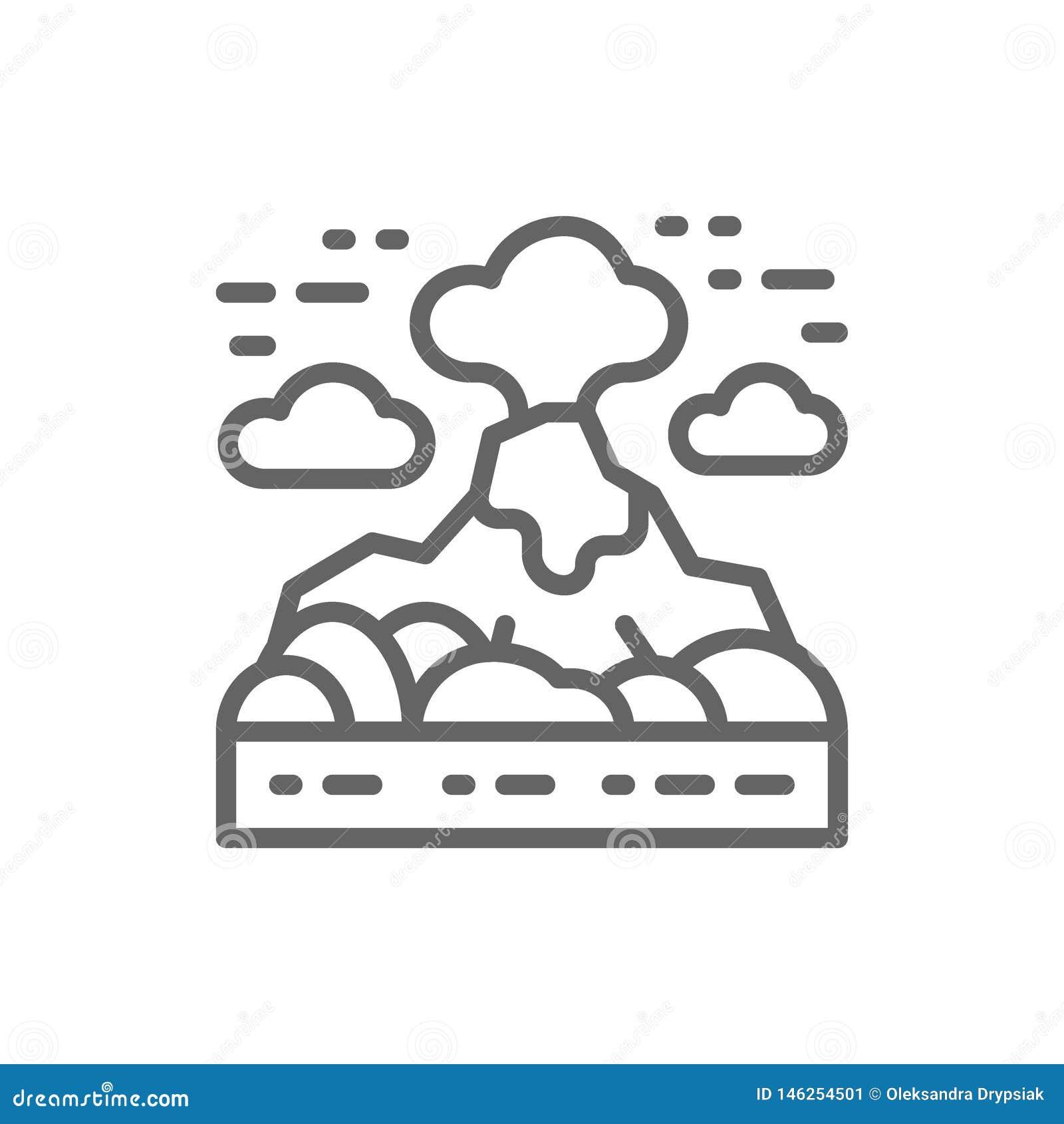 Vulkaan, de lijnpictogram van het bergenlandschap