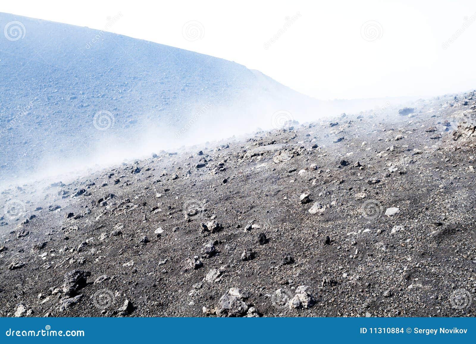Vulkanische Aschenoberfläche, Wolken