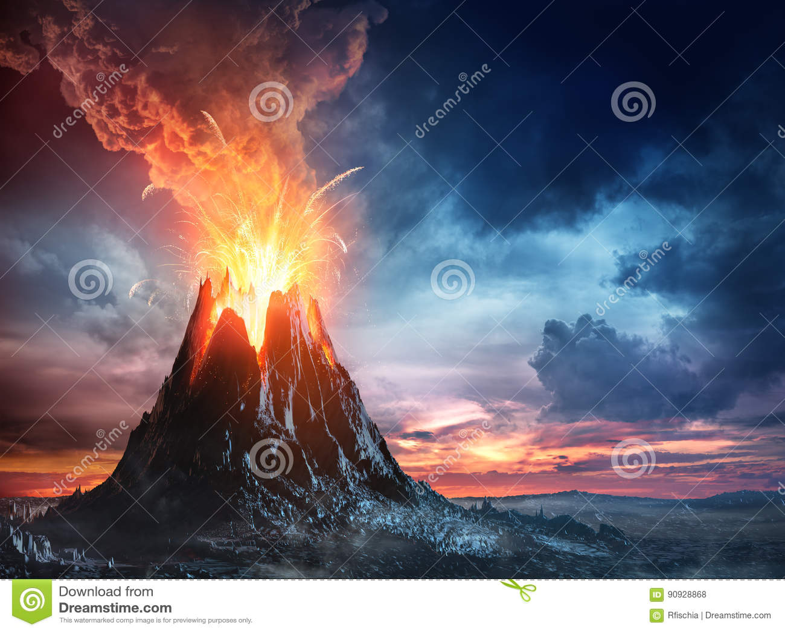 Vulkanische Berg in Uitbarsting