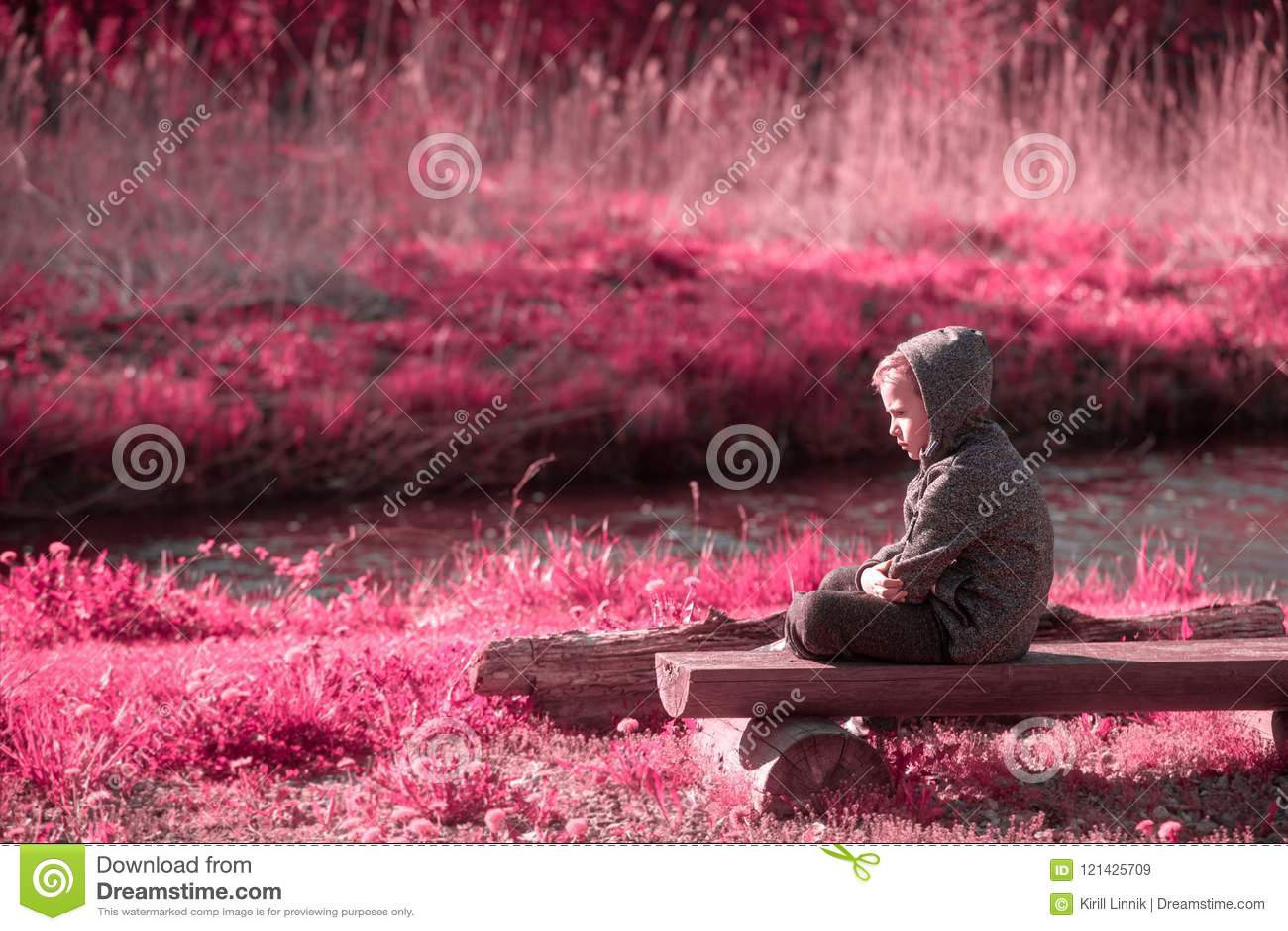 Download Vulnerable Boy At The River Side Stock Image - Image of little, emotion: 121425709