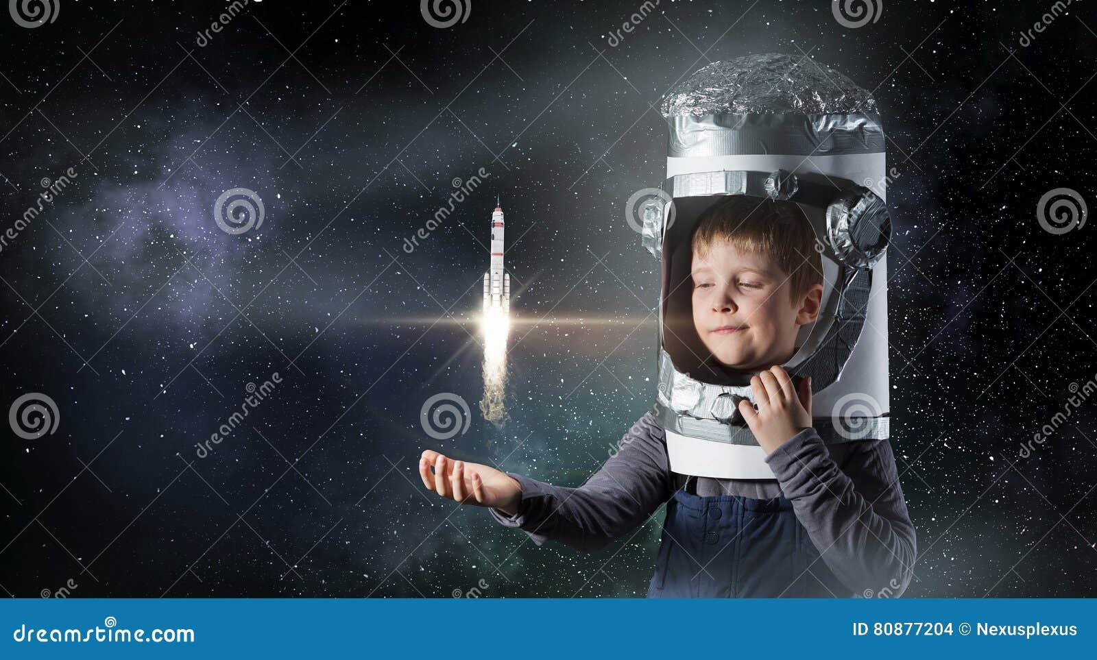 Vuole Diventare Astronauta Media Misti Fotografia Stock Immagine