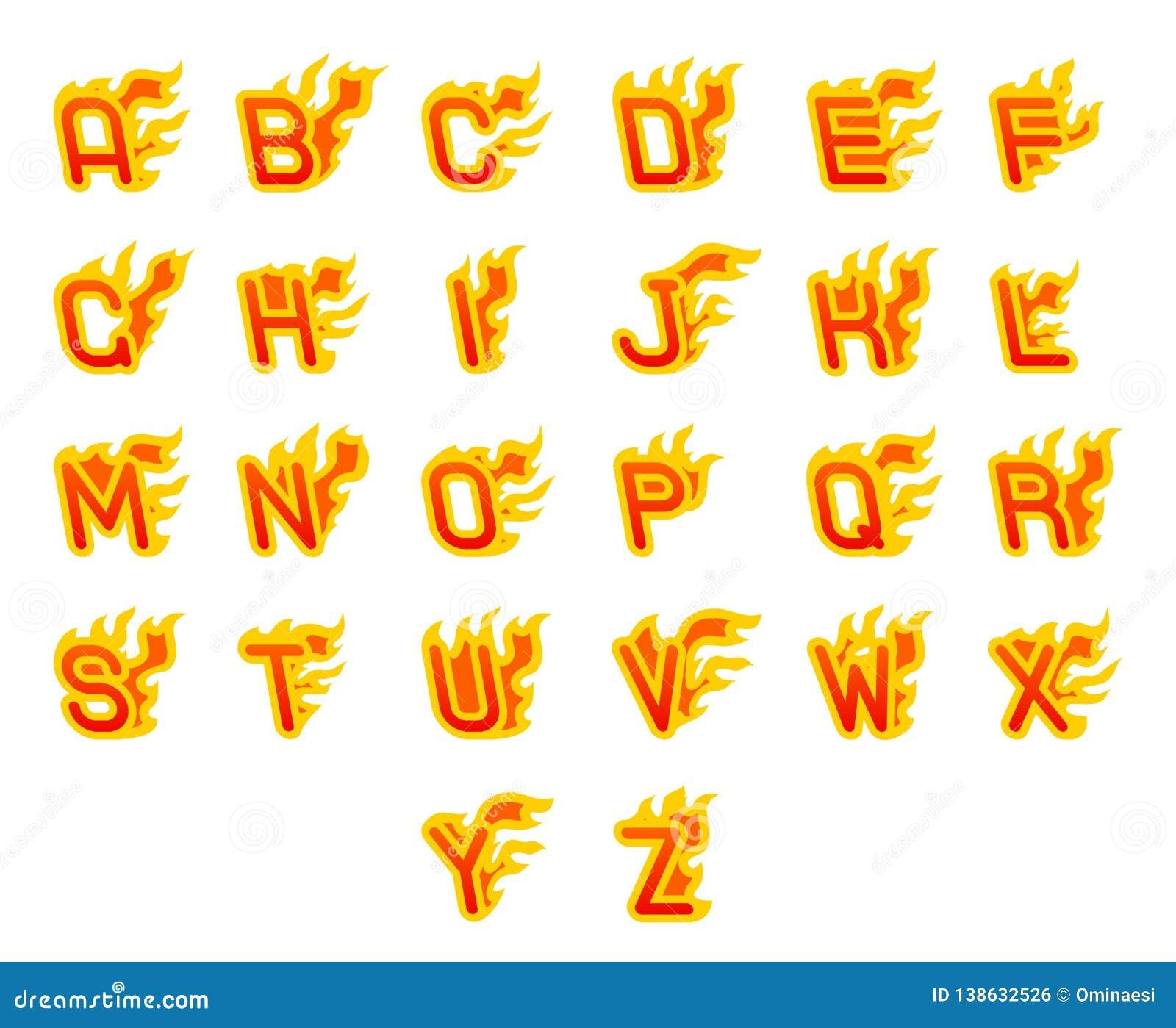 Vurige a aan z-brieven die abc van de het alfabetdoopvont van de brandvlam hete het ontwerp vectorillustratie branden