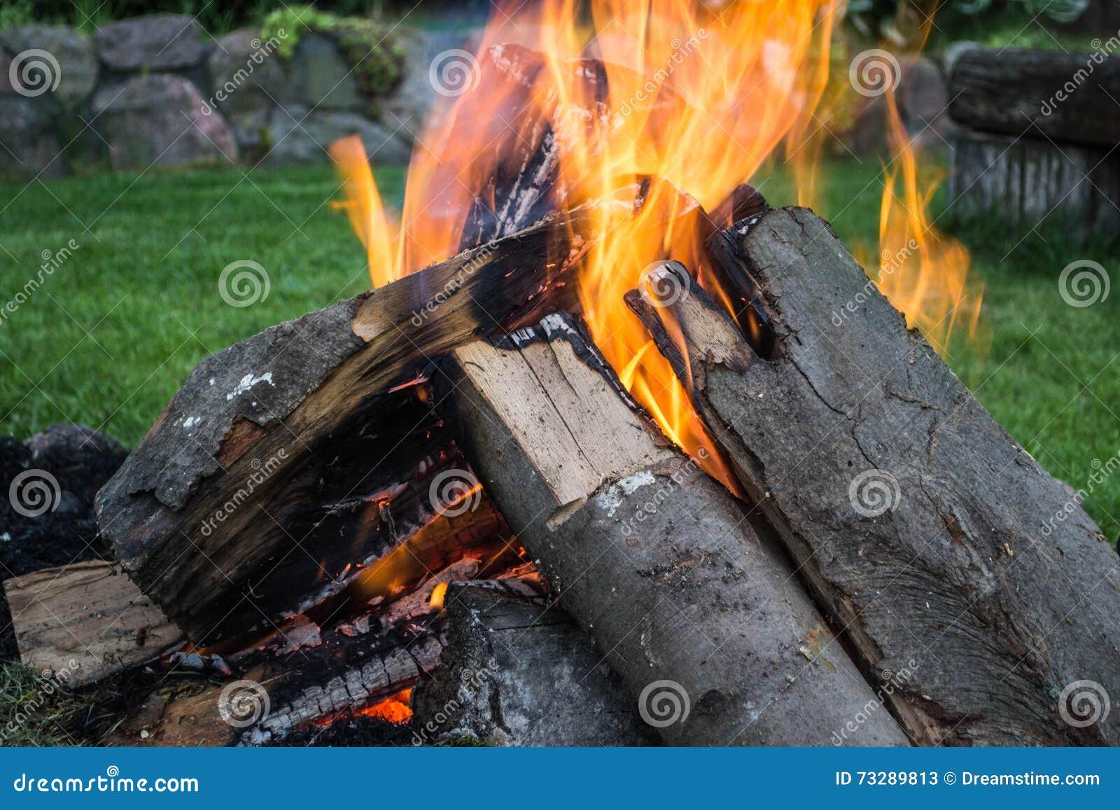 Vuur in een tuin stock afbeelding afbeelding bestaande uit vuur